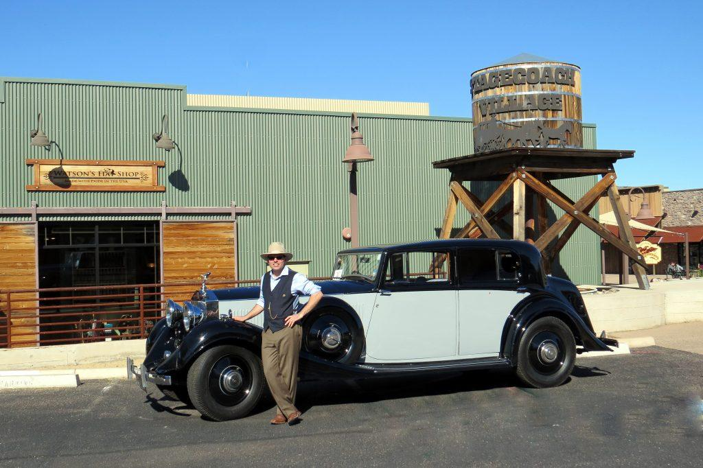 eric watson and antique roadster at stagecoach village