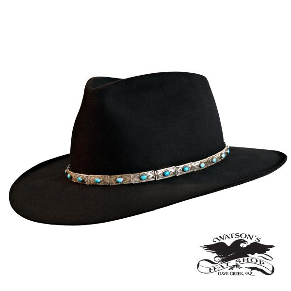Black Aussie Hat - Silver Turquoise Hat Band