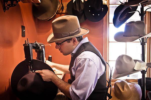 eric watson sewing a custom hat