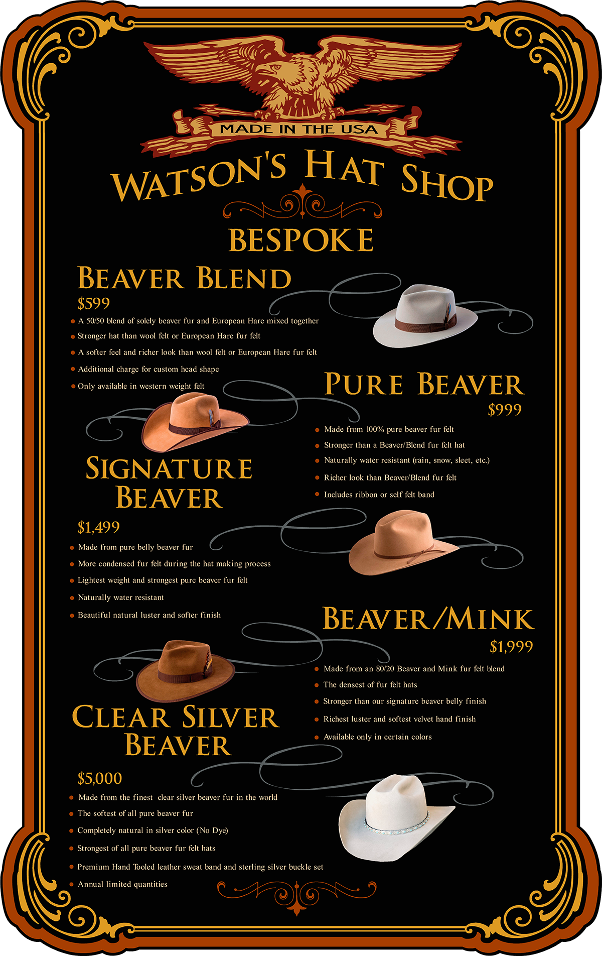 bespoke custom hat price list